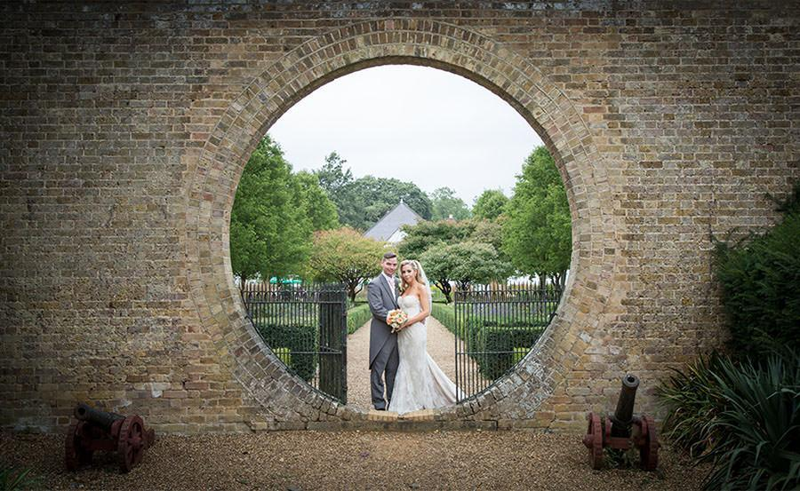 Bride and Groom Portrait at at Hanbury Manor in Hertfordshire