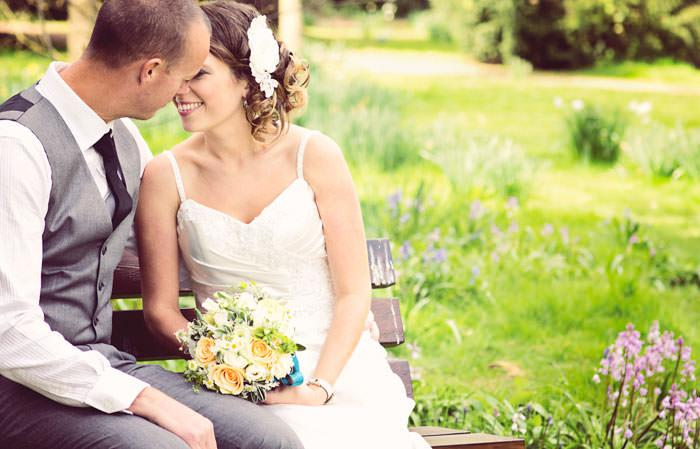 wedding photography - bride and groom in English garden, Dorset