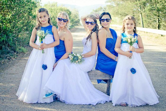 bride with bridesmaids having fun
