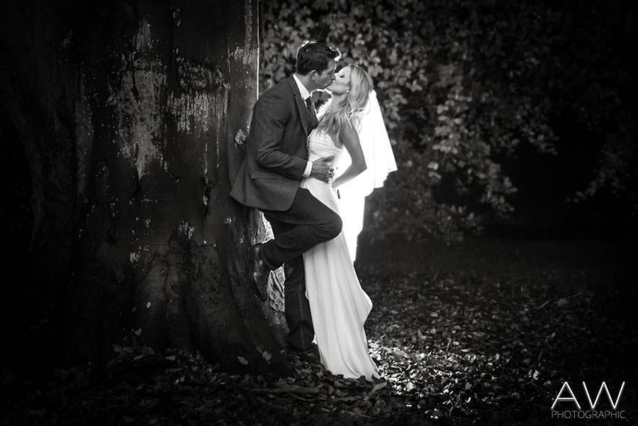 Bride and Groom Stolen Kiss Photography