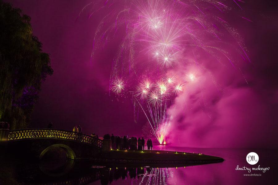 wedding photograph of wedding firework display