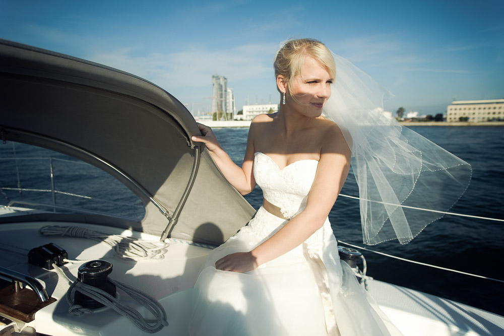 Wedding Photography Bride on boat