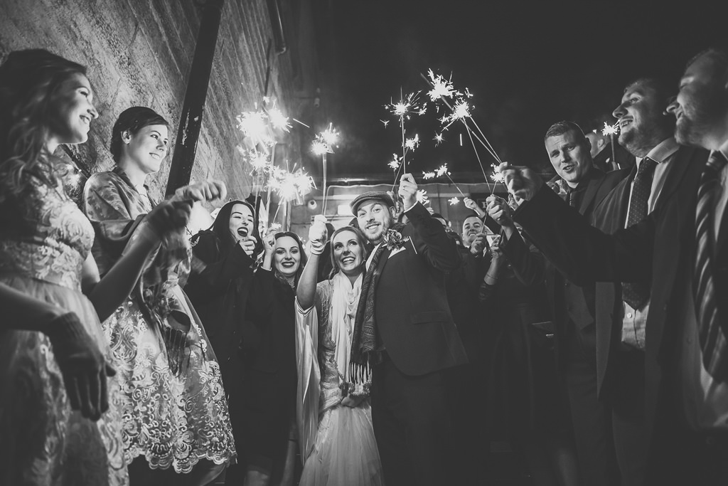 Sparklers at Night at North East Wedding