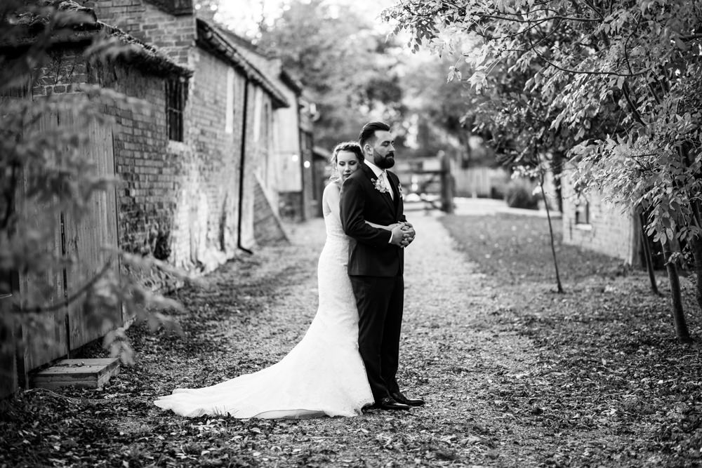 Portrait of Bride and Groom at Tudor Barn