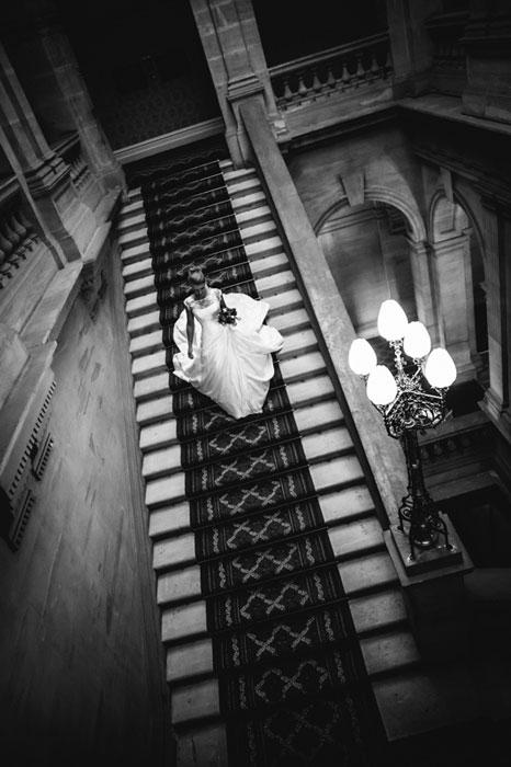 wedding photography bride on staircase