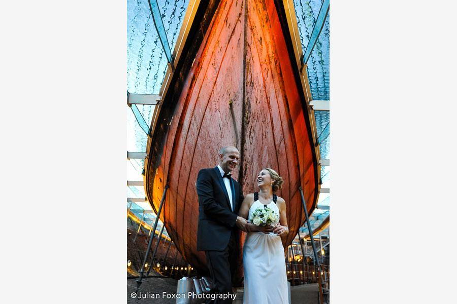 Wedding photography bride and groom with a boat